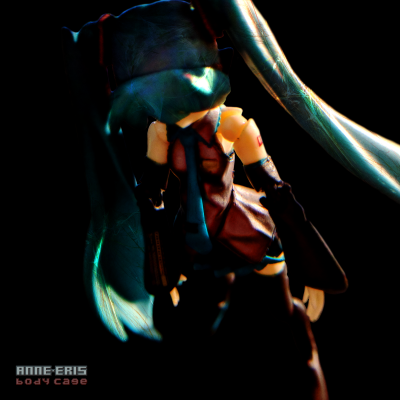 High contrast image of a Hatsune Miku doll from an isometric overhead perspective.