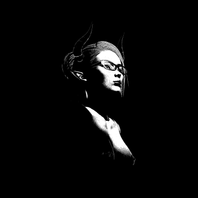 Black and white image of a woman's face and naked torso, she's wearing glasses and have devil's horn and long pointed ears.